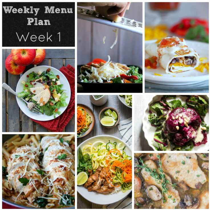 Weekly-Menu-Plan-Week-1 features a one pot spinach pasta, chicken bahn mi rice bowl, skillet pork marsala, smashed beets with goat cheese, chicken fajita lunch bowls, crispy black bean burritos, and a summer salad with roasted apple vinaigrette. YUM!
