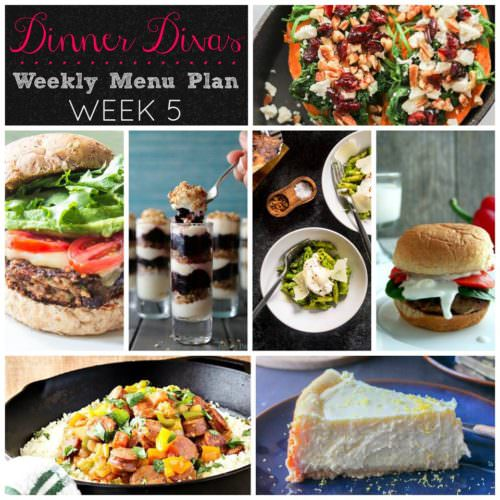 Weekly-Menu-Plan-Week-5 includes a fresh asparagus pesto pasta, crispy black bean burgers, some fabulously healthy loaded sweet potatoes, Greek Turkey Sliders, Cajun sausage and cauliflower rice, lemon cheesecake, and no bake cheesecake parfaits.