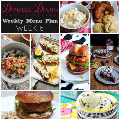 Weekly-Menu-Plan-Week 6 features picnic comfort foods with stacked burgers, kickin' potato salad, savory burrito bowls, herbaceous shrimp rolls, and two seasonal desserts that are bound to make you smile.