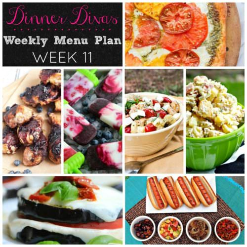 Weekly-Menu-Plan Week 11 is all about the Red, White, and Blue--featuring fun twists on American favorites. Hot dogs dressed in gourmet toppings, caprese meets tortellini and egg plant, heirloom pizza, bacon potato salad, and patriotic fruit and yogurt popsicles.