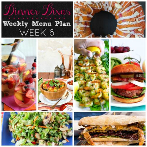 Weekly-Menu-Plan Week 8 is full fresh summer recipes as chopped chicken salad, lemon shrimp, vegan chili, crab, and a burger that'll knock your socks off!