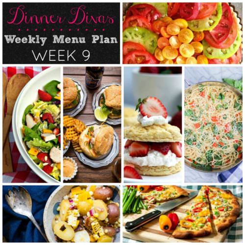 Weekly-Menu-Plan-Week-9 is chock full of delicious with fancy pork burgers, one pot pasta, a fresh vegetarian tart, grilled chicken salad, an easy pizza, potato salad, and fresh strawberries in a favorite seasonal dessert.