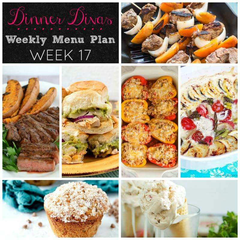 Weekly-Menu-Plan-Week-17 has so much summery goodness with glazed steak, guacamole chicken, cheesy vegetable casserole, and much more!