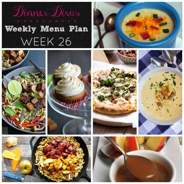 Weekly-Menu-Plan Week 26 ushers in the comfort food season with seasonal soups, vegetables, a vegan stir fry, and plenty of gooey caramel for dessert.