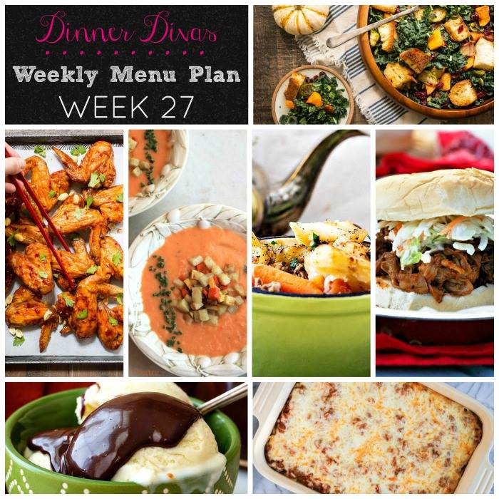 Weekly-Menu-Plan 27 is full of simple, comforting dishes with slow cooker pork, soup, stew, pasta, a great salad, and a little chocolate to cap off the week.