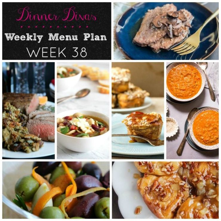 Weekly-Menu-Plan-Week-38 features easy and delicious recipes. Indulge in comforting roasts, healthy soups, and a few irresistible sweets!