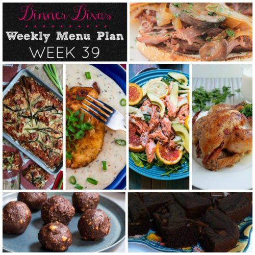Weekly-Menu-Plan-Week-39 slow roasts and braises a variety of dishes for well rounded, comforting week of dinners. As always, dessert is included! This week it's chocolate--one decadent and the other on the healthy side.