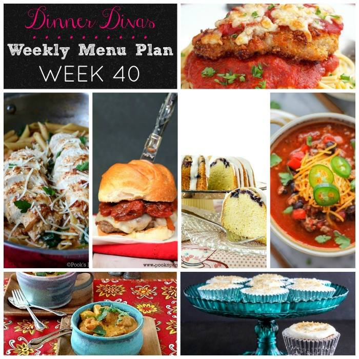 Weekly-Menu-Plan Week 40 is full of delicious dinners like baked chicken parm, a spicy paneer, smoky chili, one pot pasta, and a burger. As always, we include a couple desserts for weekend indulgence!