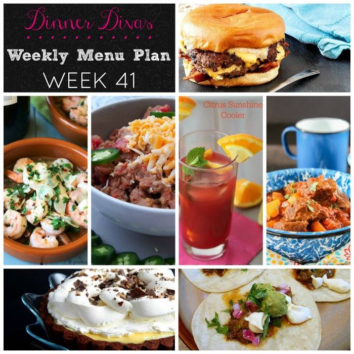 Weekly-Menu-Plan Week 41 is all about favorites like chili, schmancy tacos, beef stew, FABULOUS cheeseburgers, and shrimp pasta! Can I get a Yum-Amen?!