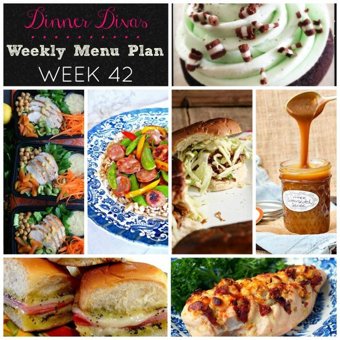 Weekly-Menu-Plan-Week-42 is loaded with a variety easy dinners and meal prep options to keep you going all week long. Don't miss the weekend desserts to celebrate making it through another week of eating well at home.