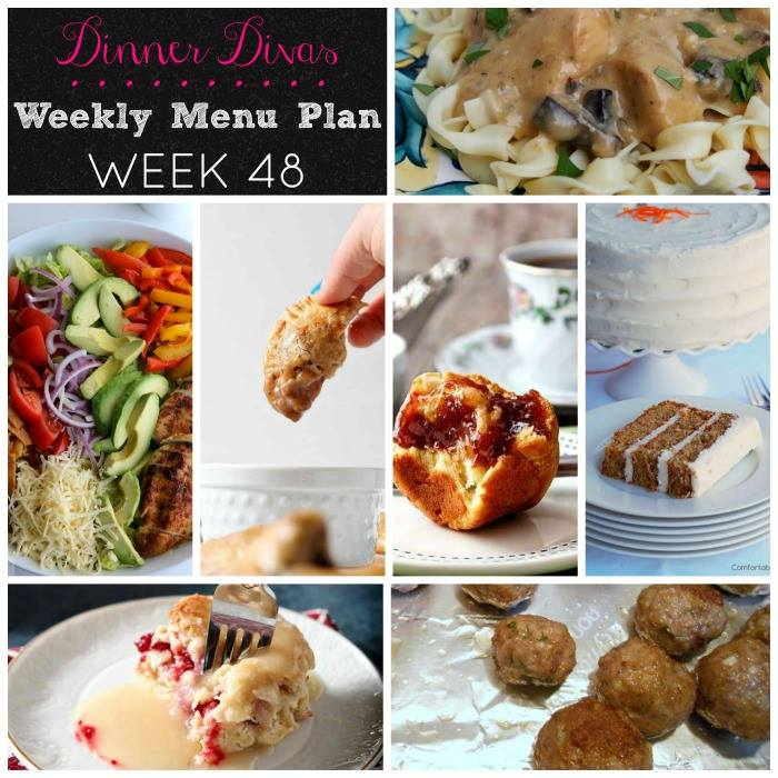 Weekly-Menu-Plan Week 48 has a variety of delicious dinners, including hand pies, lighter comfort food, a gorgeous salad, carrot cake, and brioche to round out the week.