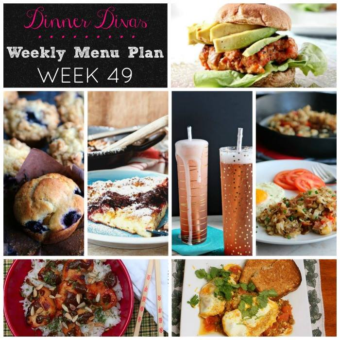 Weekly-Menu-Plan Week 49 travels the world with dishes like German pancakes, stuffed hashbrowns, a nut-free chicken satay, a Moroccan ragout, salmon, and much more!
