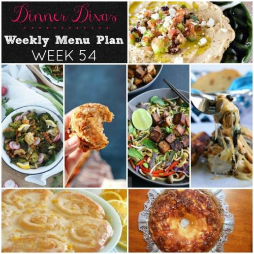 Weekly-Menu-Plan-Week-54 brings several satisfying vegetarian dinners to the table, along with loaded biscuits, a chicken dish that'll set your world on fire, and two fruity desserts for the weekend.
