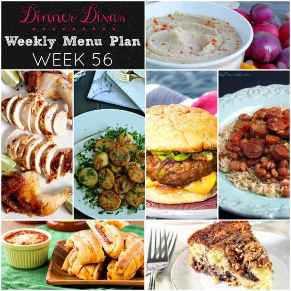 Weekly-Menu-Plan-Week-56 is extra delicious with plenty of easy dinner and snack options, including a cocktail inspired burger, a southern classic, a proven winner, and plenty of things that even the pickiest of eaters will love!