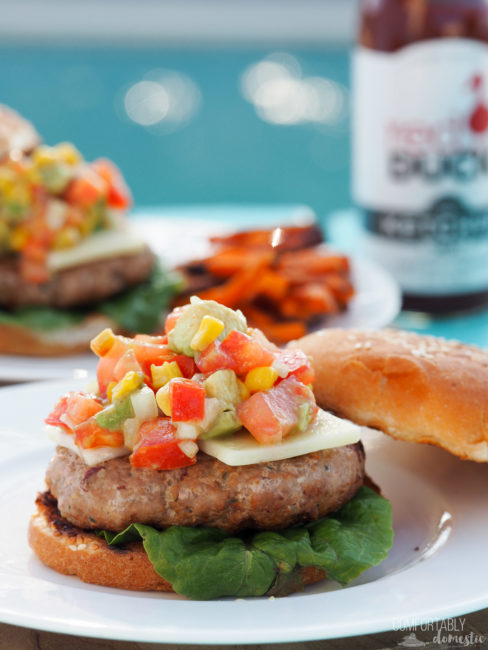 Spicy Chipotle Turkey Burgers with Corn & Avocado Salsa for #BurgerMonth