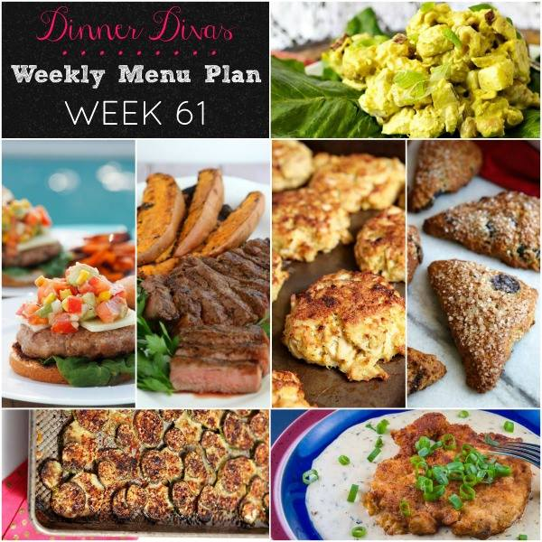 Weekly-Menu-Plan Week 61 is bringing on the freshness of summer with zesty crab cakes, grilled steak and sweet potatoes, a spicy grilled turkey burger and so much more!