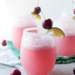 Cherry-Lime-Bellini is a fresh, fruity, and bubbly thirst quenching dessert. The recipe easily scales up to serve many, with both adult and kid friendly versions so that everyone can enjoy this sweet-crisp, summery sipper.