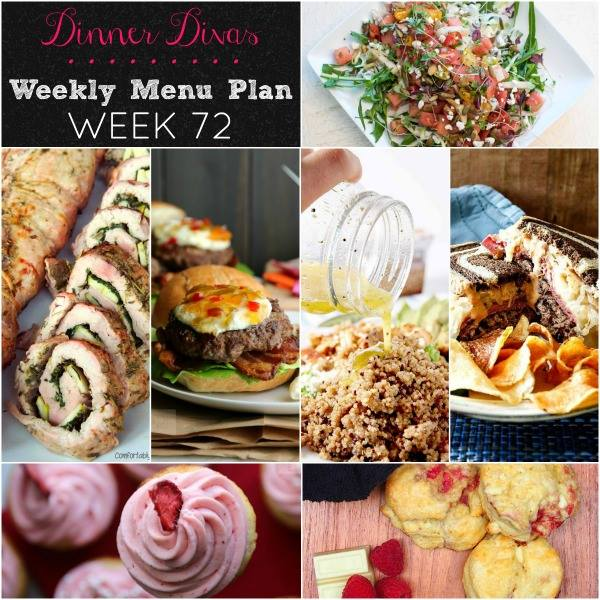 Weekly-Menu-Plan-Week-72 is full of summery goodness with a pepper jelly topped burger, an herbaceous pork roulade, a fab Reuben, and All of the Fruity salads and dessert! You're not going to want to miss this delicious week!