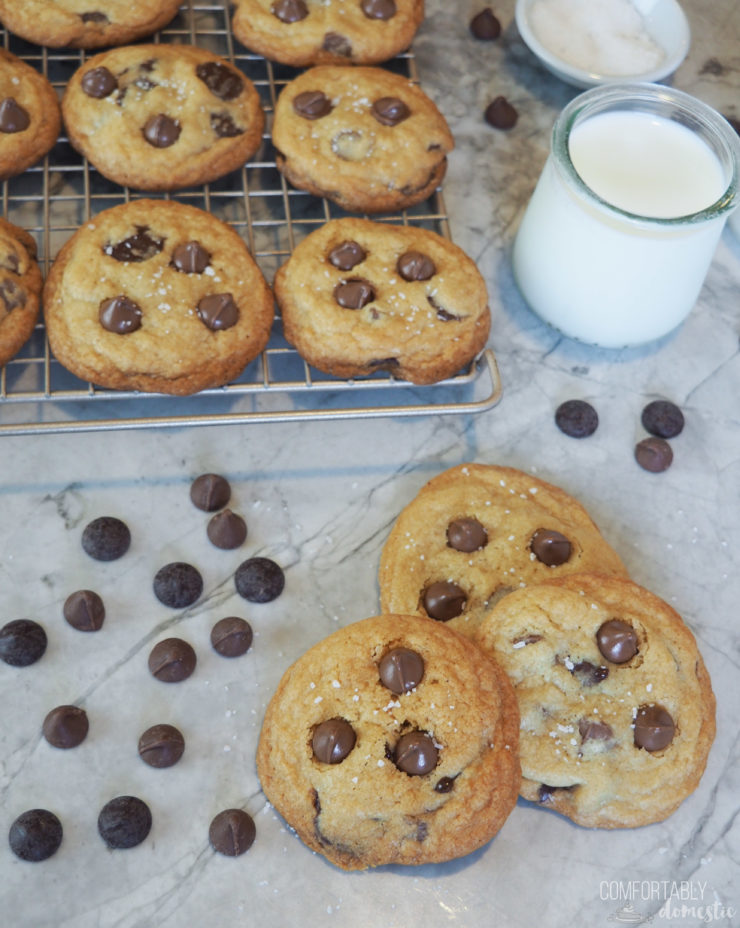 Salted-Chocolate-Chip-Cookies are everything to love about a classic chocolate chip cookie, complimented by a salty finish that really elevates the flavor.