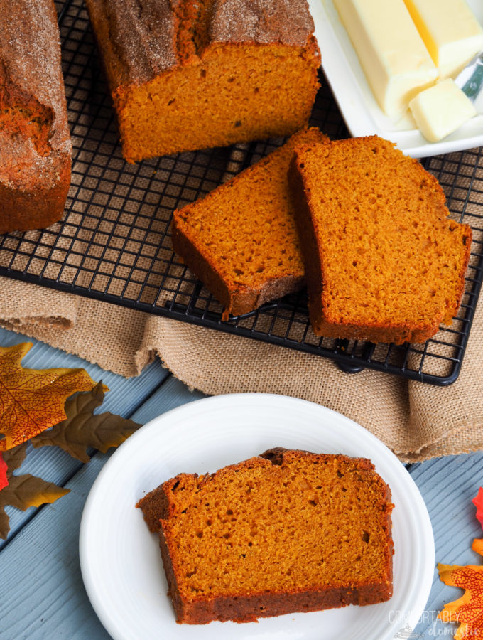 The-Best-Pumpkin-Bread is full of pure pumpkin puree to keep it soft, loaded with just enough warm spices, and a crisp topper to invoke that comforting feeling of Fall.