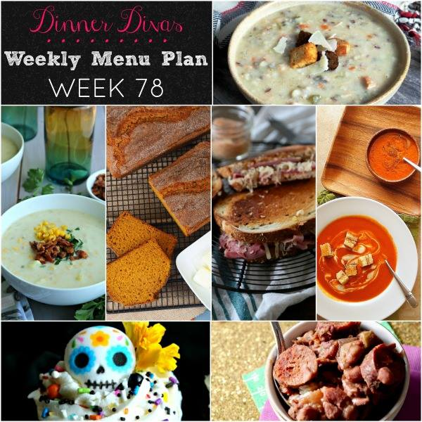 Weekly Menu Plan 78 is all about fall comfort with warm soups, easy slow cooker dinners, chocolate cupcakes, and the best pumpkin bread around!