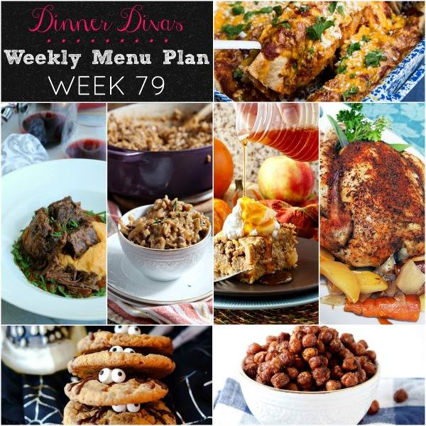Weekly-Menu-Plan-79 hits all of the comfort food bases with roast chicken, short ribs, risotto, enchiladas, and baked french toast! Don't forget about dessert and snacks, because we sure didn't!