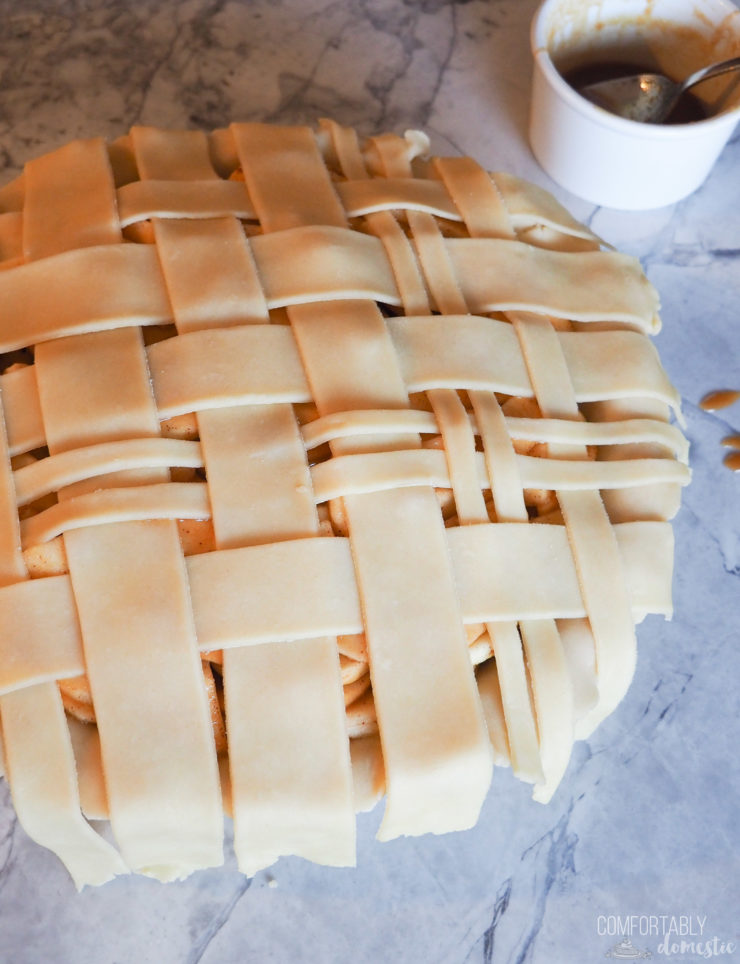 A lattice top pie crust woven to look like plaid.