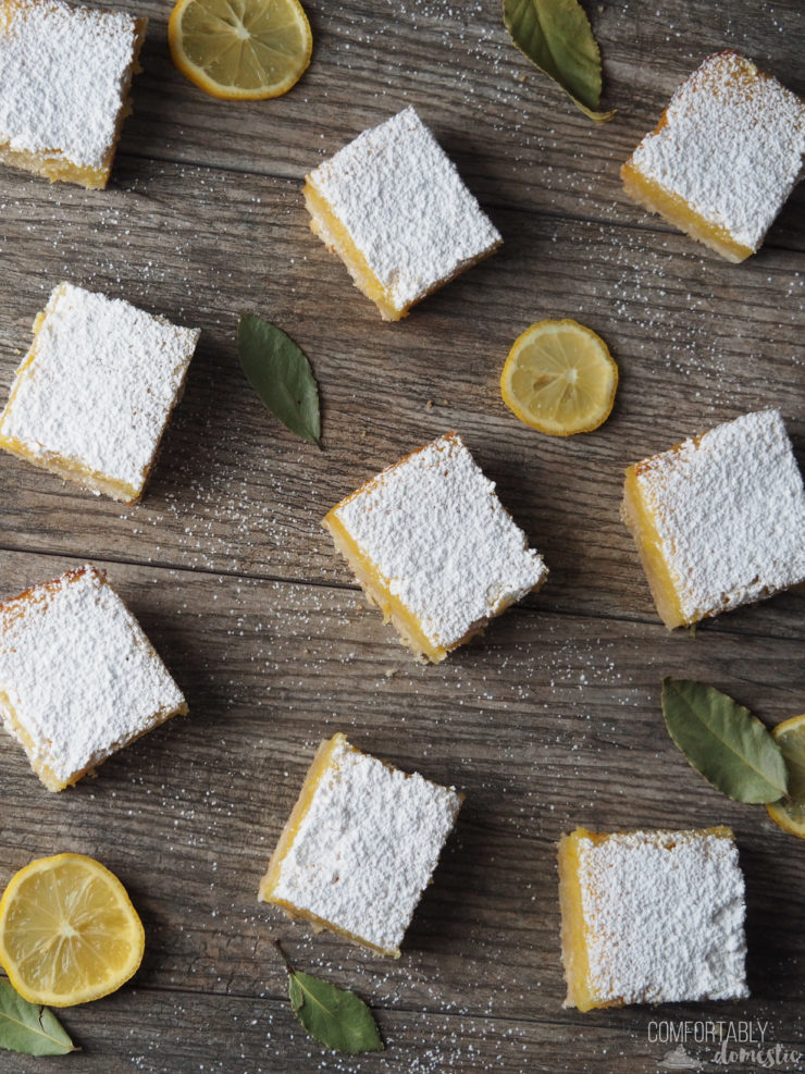 overhead-view-of-gluten-free-lemon-bars-scattered-on-a-dark-background