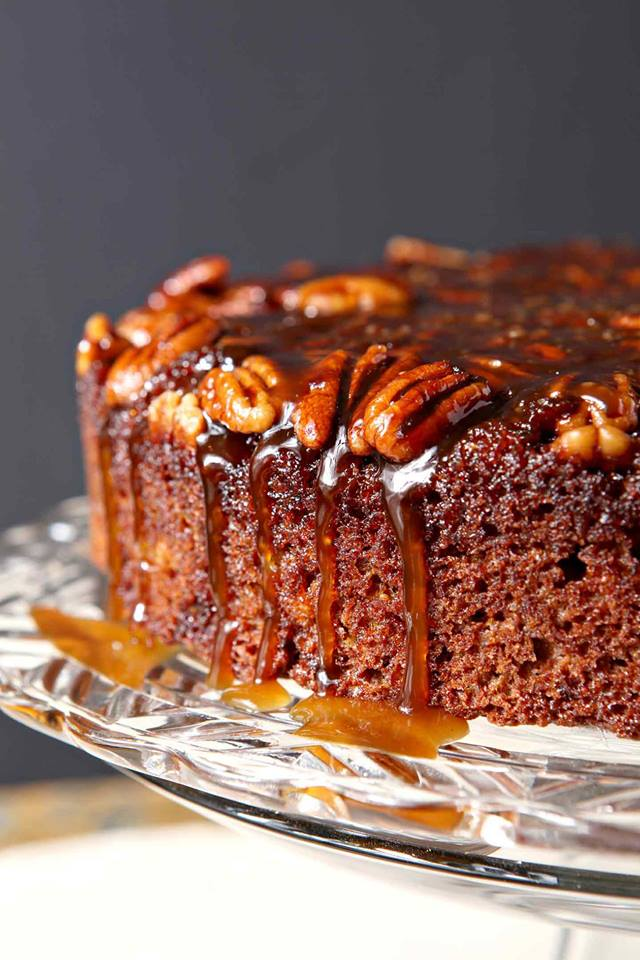 close-up-of-pumpkin-upsidedown-cake-with-caramel-dripping-down-edges