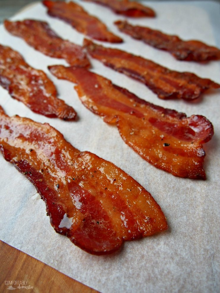 Candied Maple Bacon on parchment paper.