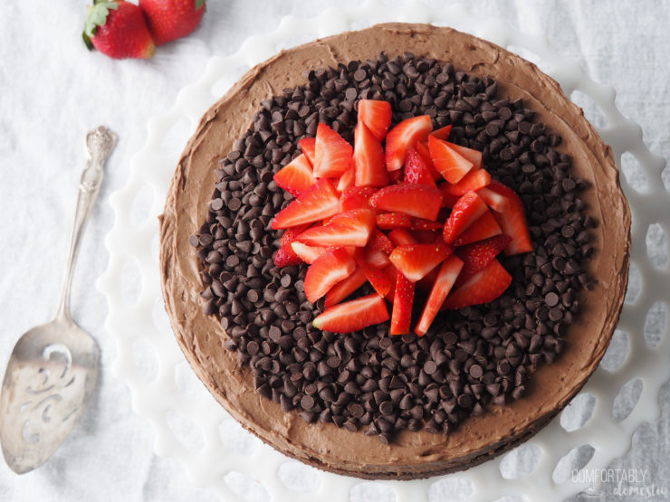 landscape-photo-of-gluten-free-chocolate-fudge-cake-with-chocolate-chips-and-strawberries