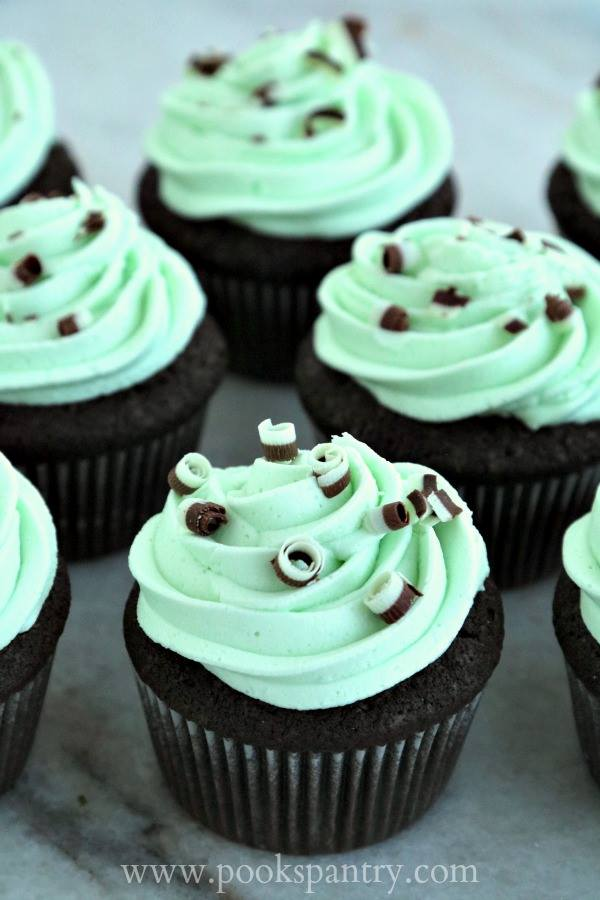 Several chocolate cupcakes with green mint frosting and chocolate curls.