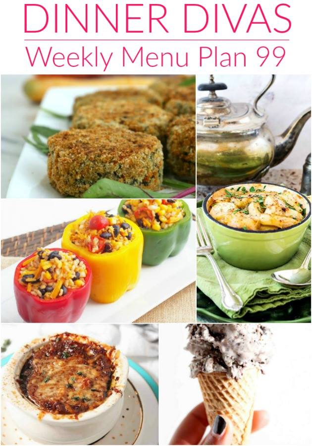 Collage of dinners for menu plan 99. Weekly Menu Plan 99 is full of warm soup, stew, lighter comfort favorites, and a couple of vegetarian choices so suit every taste. As always, the desserts are lovingly decadent!
