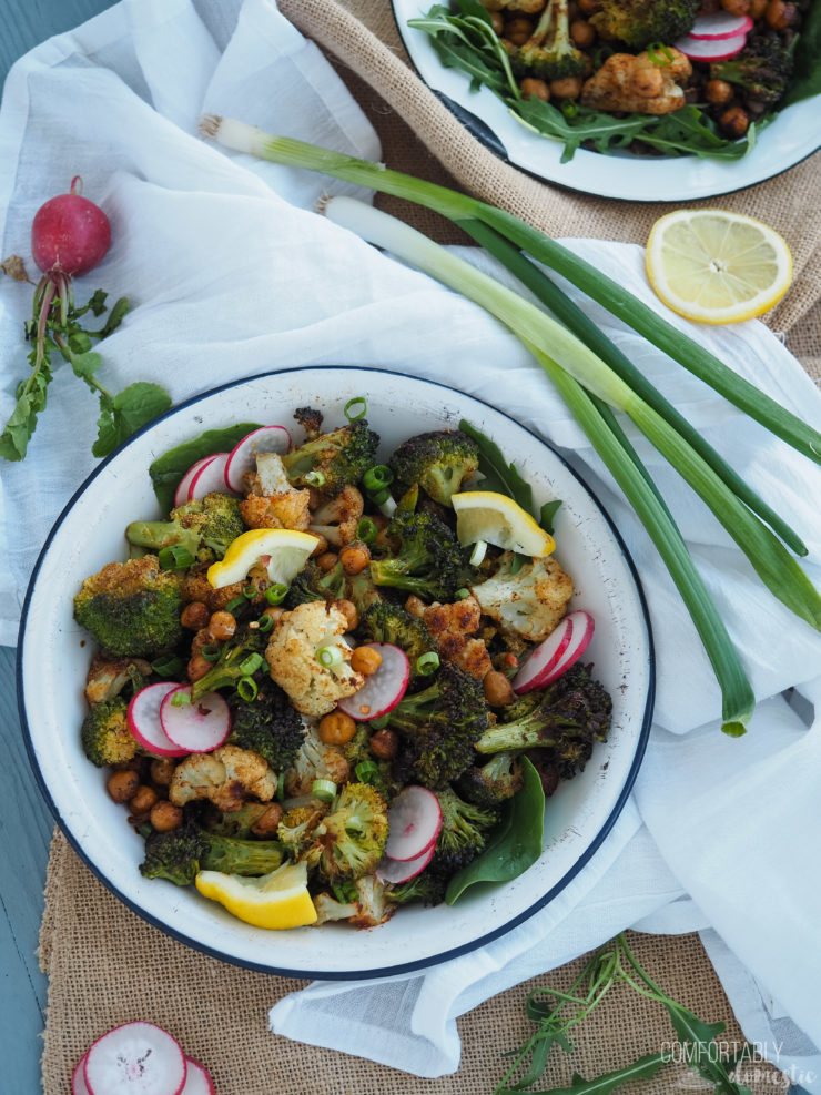 moroccan veggie power bowls medley in a white bowl