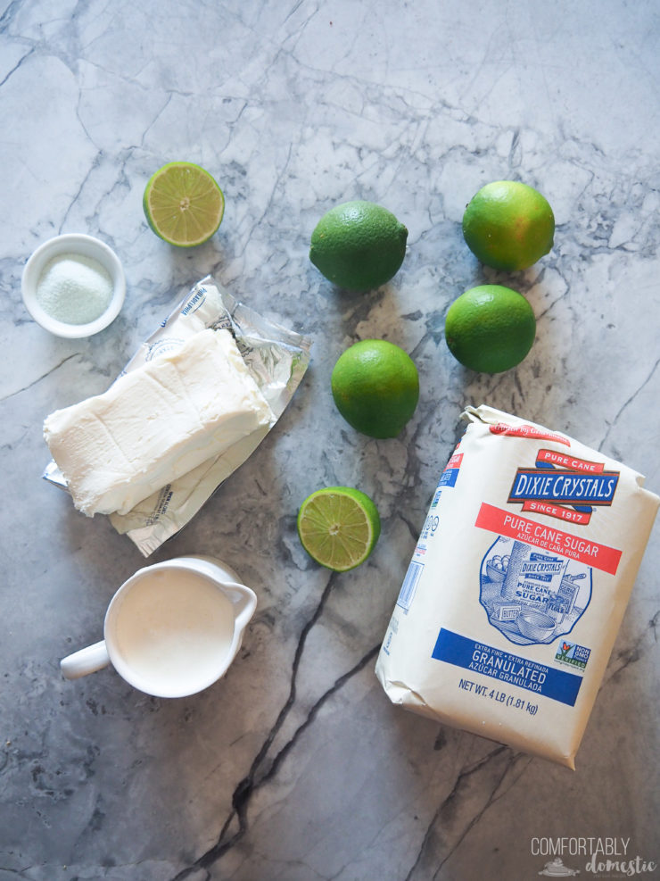 Simply limes, cream cheese, milk and sugar make the filling for the cheesecake.